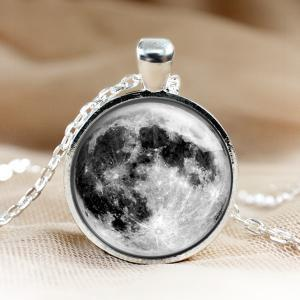 Full Moon Glass Pendant Moon Neckla..