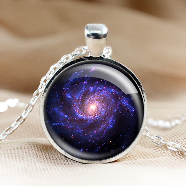 universe glass pendant necklace galaxy pendant photo