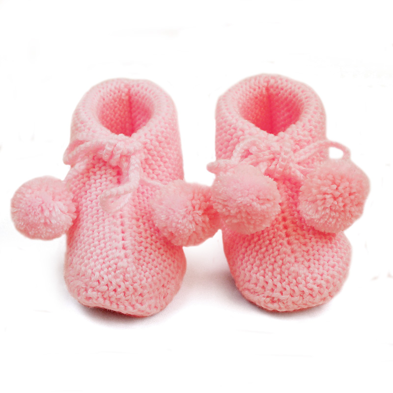 Baby Knitting Shoes Products : Pink wool knitting shoes knitted baby bootie hand knit