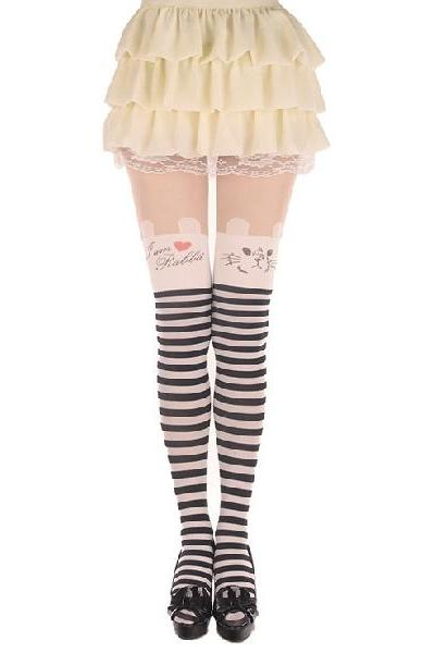 White Rabbit Black and white stripes Pantyhose stripes Pantyhose White Rabbit Leggings Tattoo Stockings Sexy Pantyhose Rabbit Leggings Rabbit Stockings Rabbit Tights Stockings (WZ8)