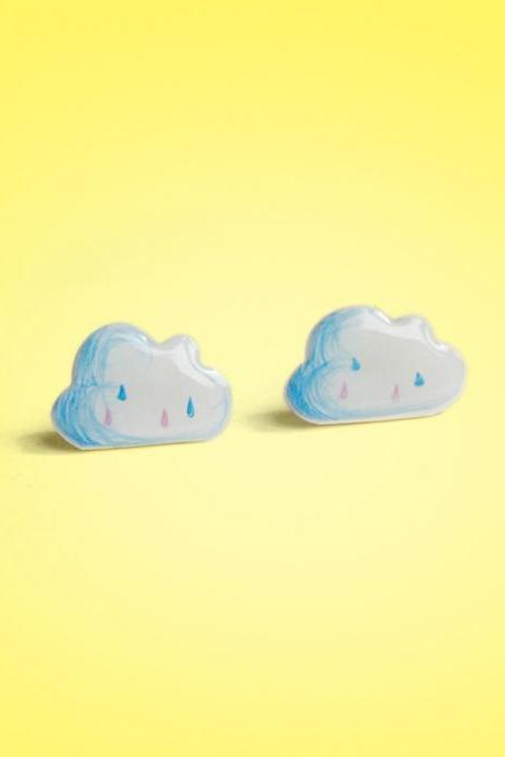 Cloud shrink plastic 925 silver Stud Earrings,handmade,Cloud Earrings,Cloud Jewelry, Girls Earrings (RSP2)