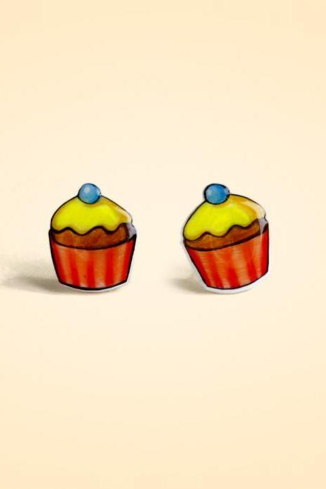 Cup Cakes shrink plastic 925 silver Stud Earrings,handmade,Cup Cakes Earrings,Girls Earrings (RSP5)