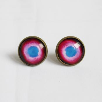 Universe Glass Earring,Gunmetal Earring,14mm Round.rose red and blue.Picture Earrings.Stud Earrings.galaxy Earrings(ER12)