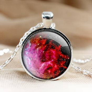 Rose Red Universe Glass Pendant Necklace.rose Galaxy Pendant.Photo Pendants.1 inch circle.Photo Necklace.glass jewelry.Glass Charm (HD72)