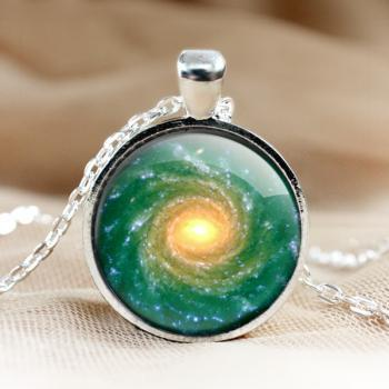Green Universe Glass Pendant Necklace.green Galaxy Pendant.Photo Pendants.1 inch circle.Photo Necklace.glass jewelry.Glass Charm (HD70)