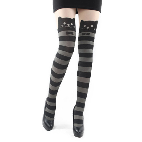 Cat Bow stripe Pantyhose,Cat stripe Pantyhose,stripe Cat Leggings,Tattoo Stockings Sexy Pantyhose Cat stripe Leggings Cat Stockings Cat Tights Stockings (WZ3)